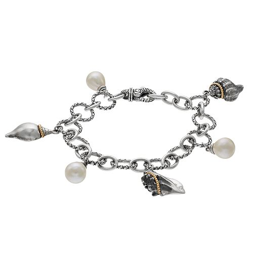 Two Tone Sterling Silver Freshwater Cultured Pearl & Seashell Charm Bracelet