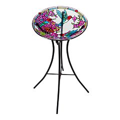 Evergreen Colorful Hummingbird Indoor / Outdoor Bird Bath