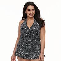 Plus Size Apt. 9® Tummy Slimmer Floral Halter Swimdress