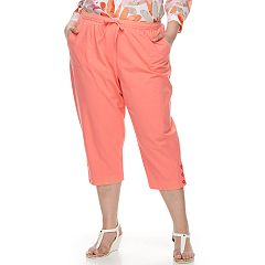 Plus Size Cathy Daniels Button-Hem Pull-On Capris