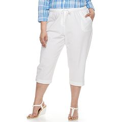 Plus Size Cathy Daniels Button-Hem Pull-On Capris
