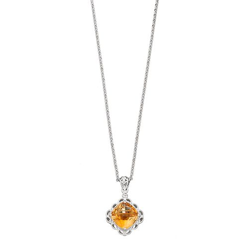 Sterling Silver Citrine & Cushion Pendant Necklace