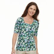 Women's Croft & Barrow® Squareneck Elbow Sleeve Tee