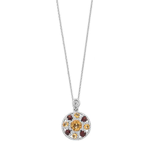 Sterling Silver Citrine & Garnet Circle Pendant Necklace