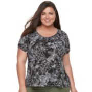 Plus Size Cathy Daniels Printed Embellished Top