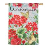 "Evergreen 29"" x 43"" Floral ""Welcome"" Indoor / Outdoor House Flag"