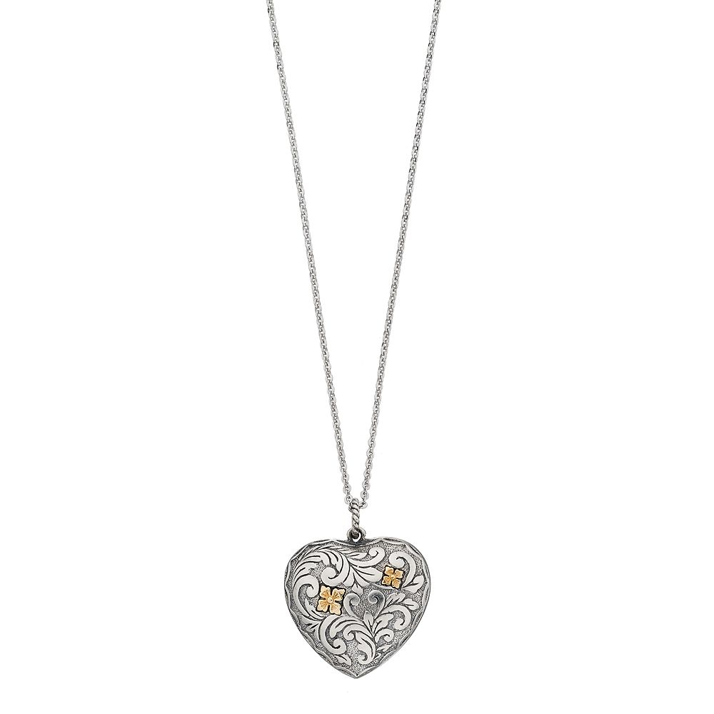Sterling silver puffed heart pendant necklace aloadofball Images