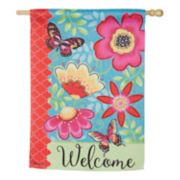 "Evergreen 29"" x 43"" Flowers ""Welcome"" Indoor / Outdoor House Flag"