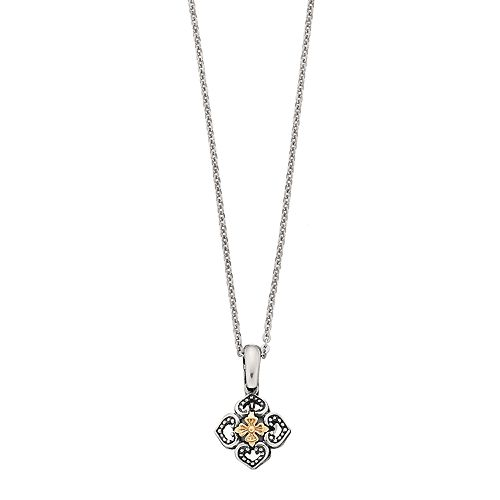 Sterling Silver & 14k Gold Over Silver Flower Pendant Necklace
