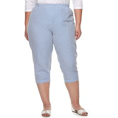 Plus Size Cathy Daniels Gingham Pull-On Capris