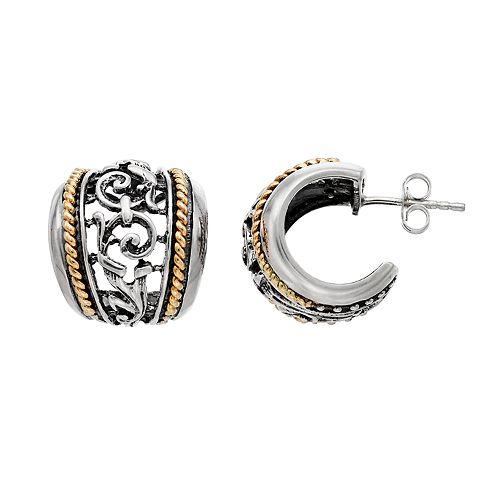 Two Tone Sterling Silver  Textured Hoop Earrings