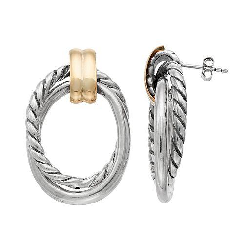 Two Tone Sterling Silver  Textured Door Knocker Earrings