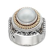 Two Tone Sterling Silver Freshwater Cultured Pearl Halo Ring