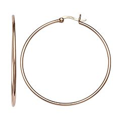 PRIMROSE 14k Rose Gold Over Silver Tube Hoop Earrings