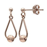 PRIMROSE 14k Rose Gold Over Silver Ball Teardrop Earrings