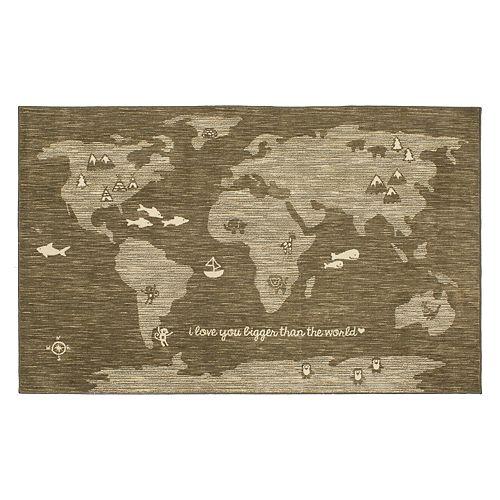 Mohawk® Home Aurora Bigger Love Wear-Dated World Map Rug