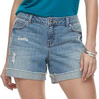 Women's Jennifer Lopez Distressed Boyfriend Jean Shorts