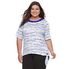 Plus Size Cathy Daniels Stripe Side-Tie Top