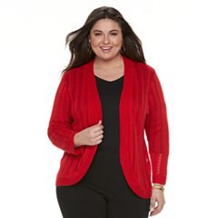 Plus Size Dana Buchman Open Stitch Shrug