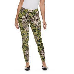 Women's Utopia by HUE Floral Palm Print Denim Leggings