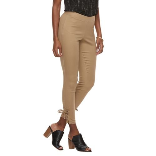 Women's Utopia by HUE Side Laced Twill Skimmer Leggings