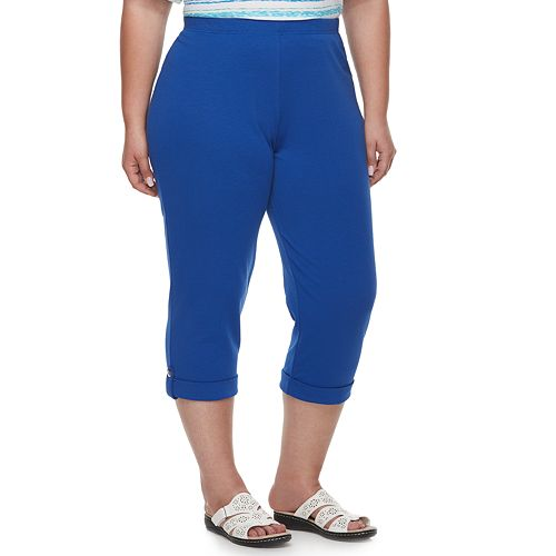 Plus Size Cathy Daniels Pull-On Roll Cuff Capris