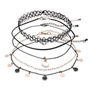 Mudd® Two Tone Disc & Tattoo Choker Necklace Set
