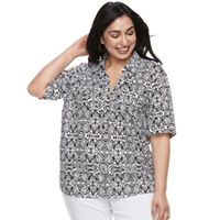 Plus Size Cathy Daniels Scroll Henley Top