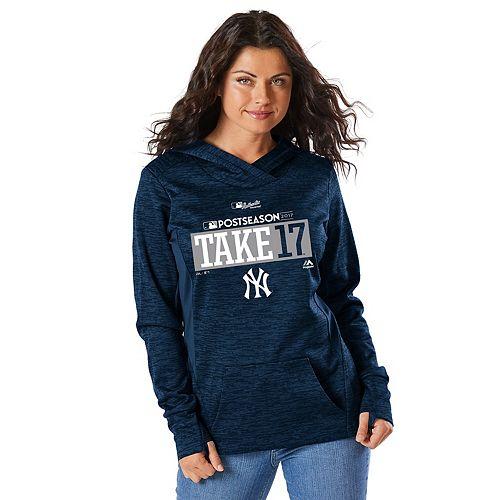 Women s Majestic New York Yankees 2017 MLB Playoffs Participant Hoodie 1b2cdda55aa