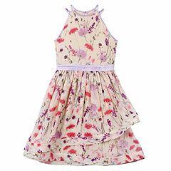 Girls 7-16 Speechless Allover Floral Asymmetrical Dress