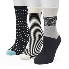 Women's SONOMA Goods for Life™ 3-pk. Black & White Color Block Dots Crew Socks