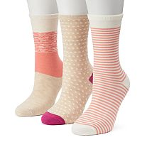 Women's SONOMA Goods for Life™ 3 pkColor Block Dots Crew Socks