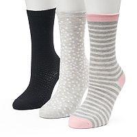 Women's SONOMA Goods for Life™ 3-pk. Grey Scattered Dot Crew Socks