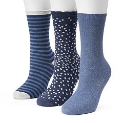 Women's SONOMA Goods for Life™ 3 pkNavy Scattered Dot Crew Socks