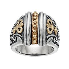 Two Tone Sterling Silver Etruscan Ring