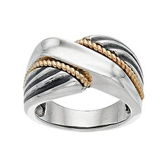 Two Tone Sterling Silver Twist Ring