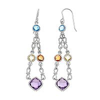 Sterling Silver Gemstone Chandelier Earrings