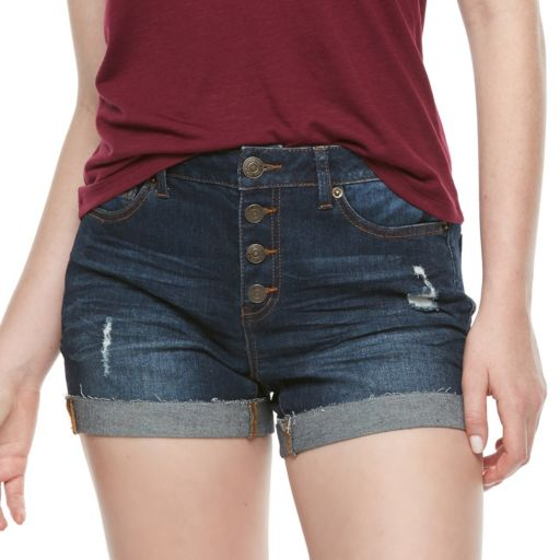 Juniors' Mudd® High Rise Button Fly Shorts