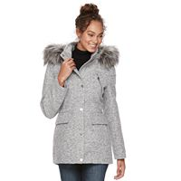 Women's Apt. 9® Wool Blend Faux-Fur Trim Coat