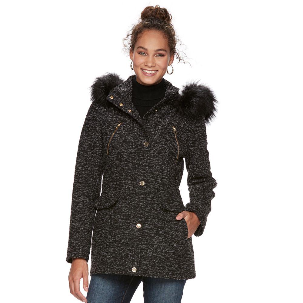 Apt. 9® Textured Faux-Fur Trim Coat