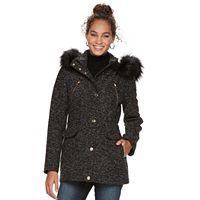 Women's Apt. 9® Textured Faux-Fur Trim Coat