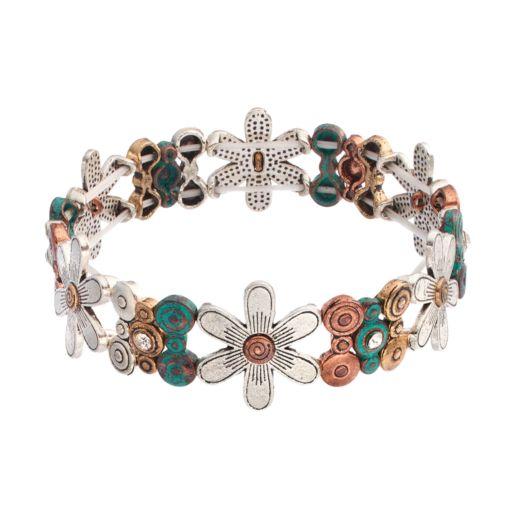 Believe In Tri Tone Flower Stretch Bracelet