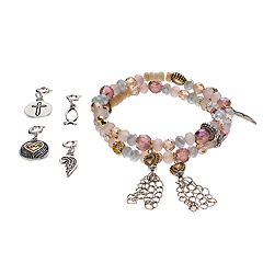 Believe In 'Love,' Heart & Wing Charm Beaded Stretch Bracelet Set
