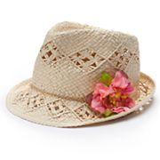 Girls 4-16 Woven Flower Fedora Hat