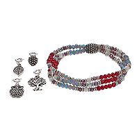 Believe In Owl, Pinecone & Tree Charm Stretch Bracelet Set