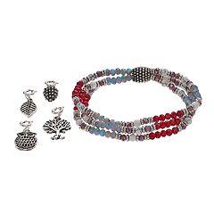 Believe In Owl, Pinecone & Tree Charm Stretch Bracelet Set