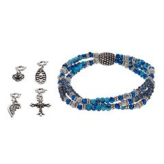 Believe In Cross, Heart & Wing Charm Stretch Bracelet Set