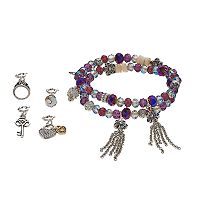 Believe In Heart Lock & Key Charm Beaded Stretch Bracelet Set
