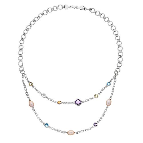 Sterling Silver Gemstone, Freshwater Cultured Pearl & Diamond Accent Double Strand Necklace