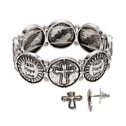 Believe In 'Faith' Cross Stretch Bracelet & Stud Earring Set
